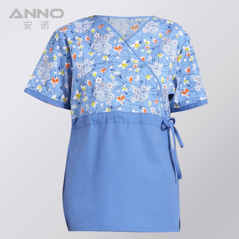 Short Sleeves Unisex Clinical Hospital Medical uniforms Nurse Suit Dental Hygiene Clinic Scrubs TOP