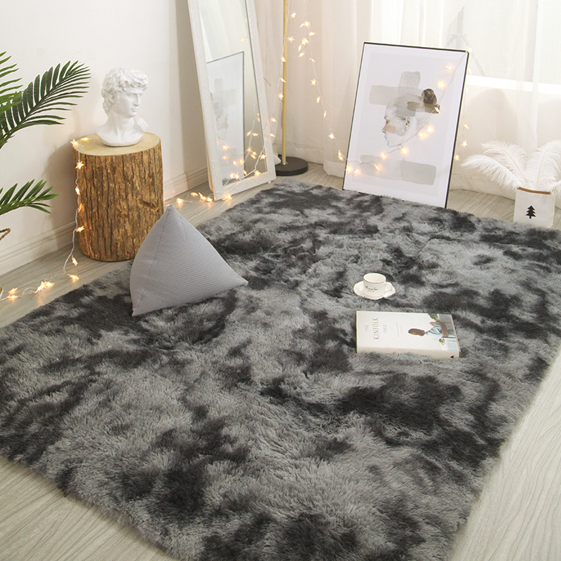 Variegated Tie-dye Gradient Carpet Soft Skin Mat Encryption Thick Rug Does Not Lint Does Not Fade Blanket Plush Bedside Carpet