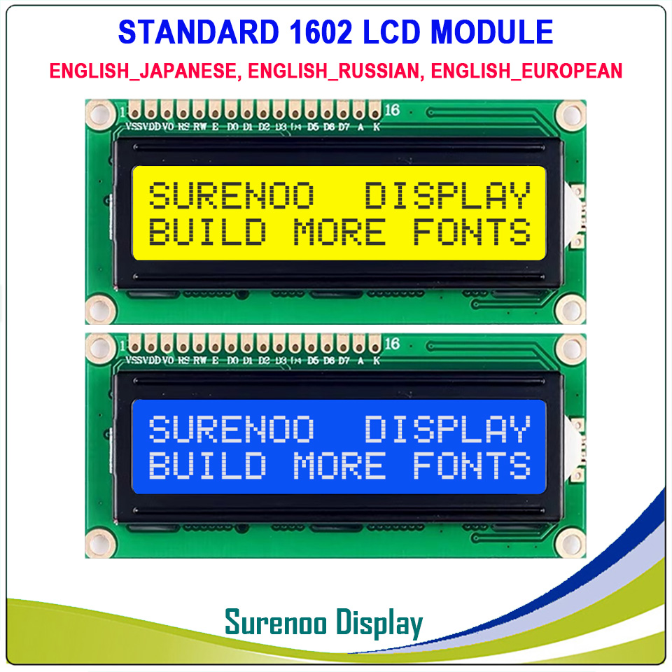 English / Japanese / Russian / European 1602 162 <font><b>16X2</b></font> Character <font><b>LCD</b></font> <font><b>Module</b></font> <font><b>Display</b></font> Screen LCM Build-in SPLC780D Controller image