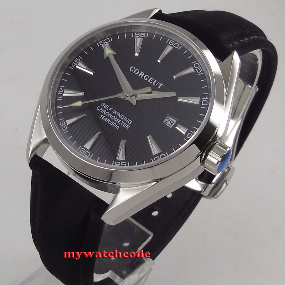 Polished 39mm corgeut black dial Sapphire Glass miyota 821A automatic mens Watch C134 цена и фото