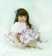 22 inch 55 cm Silicone baby reborn dolls, lifelike doll reborn babies toys Beautiful flower skirt length hair girl
