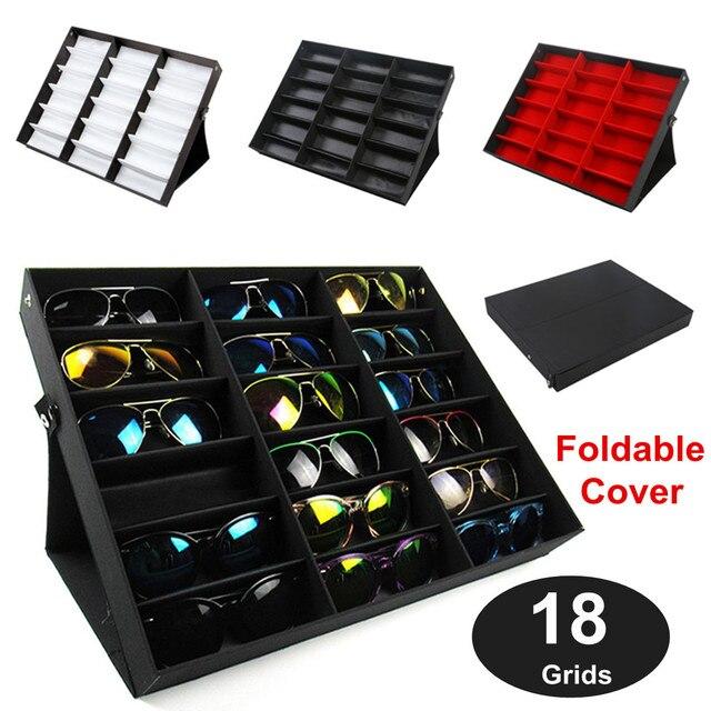 Modern 18 Grids Eyeglass Storage Box Sunglasses Glasses Storage Case  Display Stand Holder Case Tools Wardrobe
