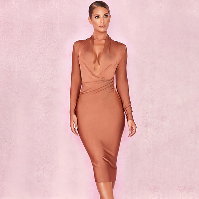 fb2e5c73ecff Light Brown Women Fashion Deep V Neck Long Sleeve Bandage Fabric Bodycon  Dress