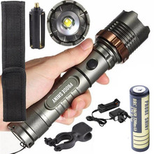 Tactical Flashlight 5000LM XM-L T6 1*18650 3.7v LED 5Modes Set Zoomable Torch Lamp+Battery+Charger Waterproof Bicycle Light