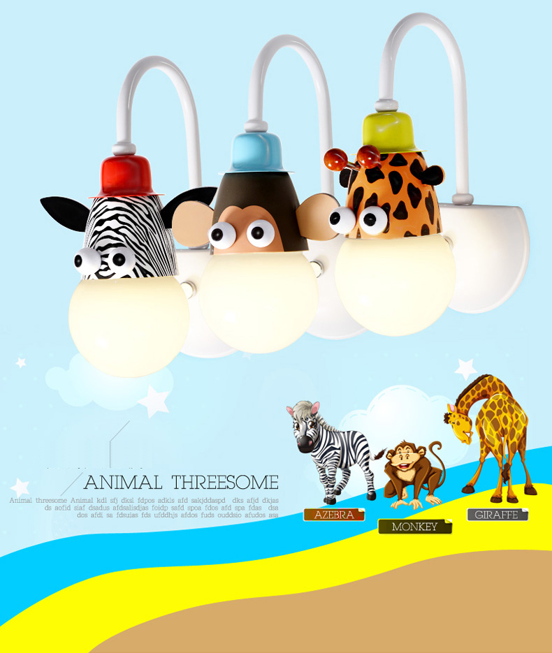 Novelty Cartoon Animal Heads LED Wall Light Giraffe Zebra Monkey Penda Cow Tigar Wall Lamp for Children's Kids Bedroom bedside