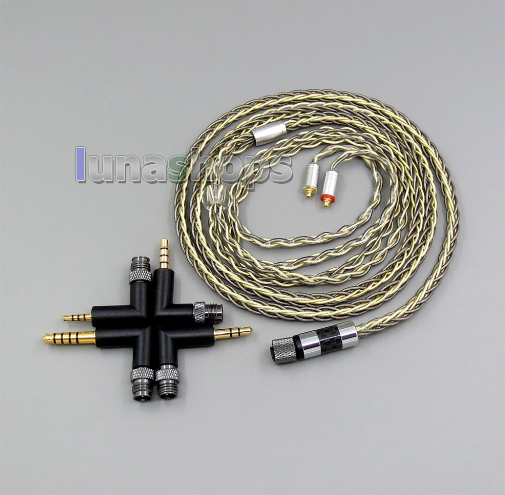 LN006243 4 in 1 Plug 8 Cores Foiled 7N OCC Pure Silver Gold Plated Earphone Cable