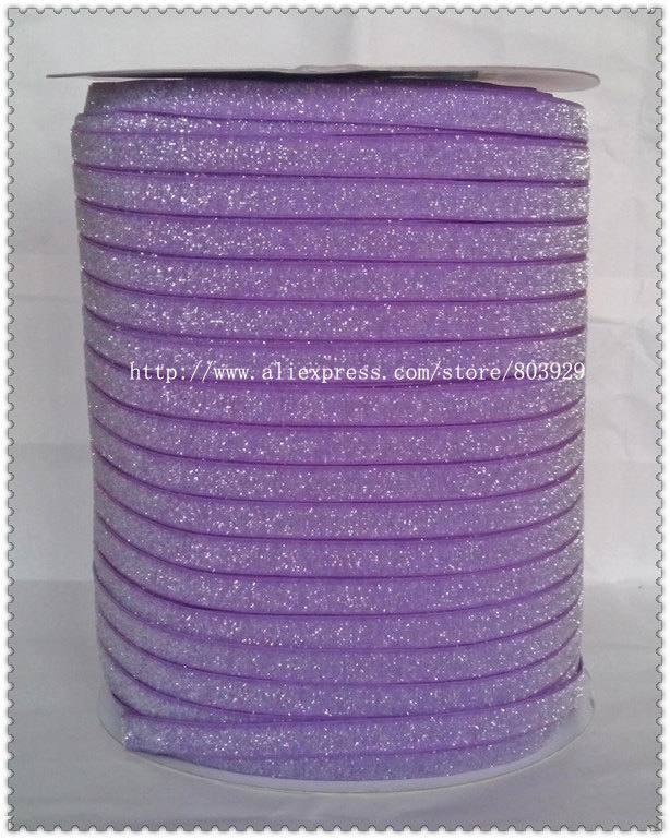 50yards lot Non stretch 1 5 Frosted Purple Glitter Ribbon