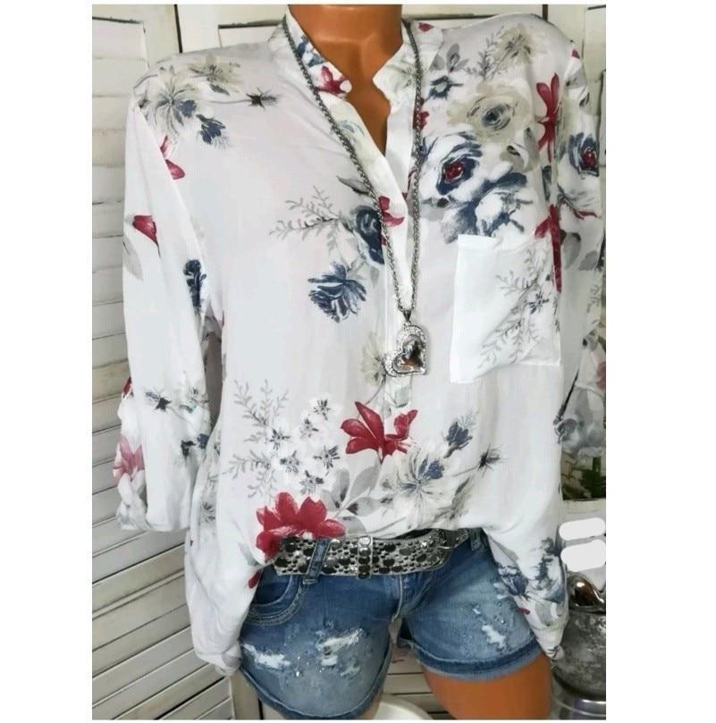 Women Shirts Autumn Casual V-Neck White Chiffon Blouse Women Top Camisa Feminina Long Sleeve Ladies Print Blouse Femme Shirt