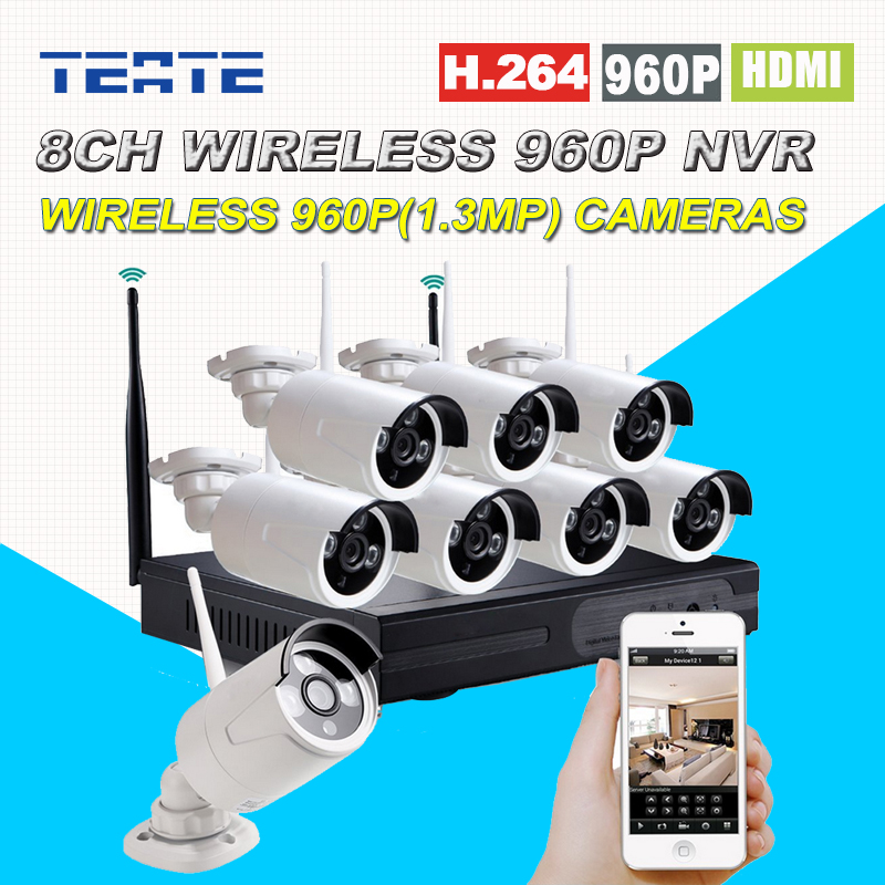Wireless Wifi 8CH HD 960P NVR CCTV System 8pcs 960P 1.3MP Waterproof IP Camera Home Security Safety System Kit 8channel