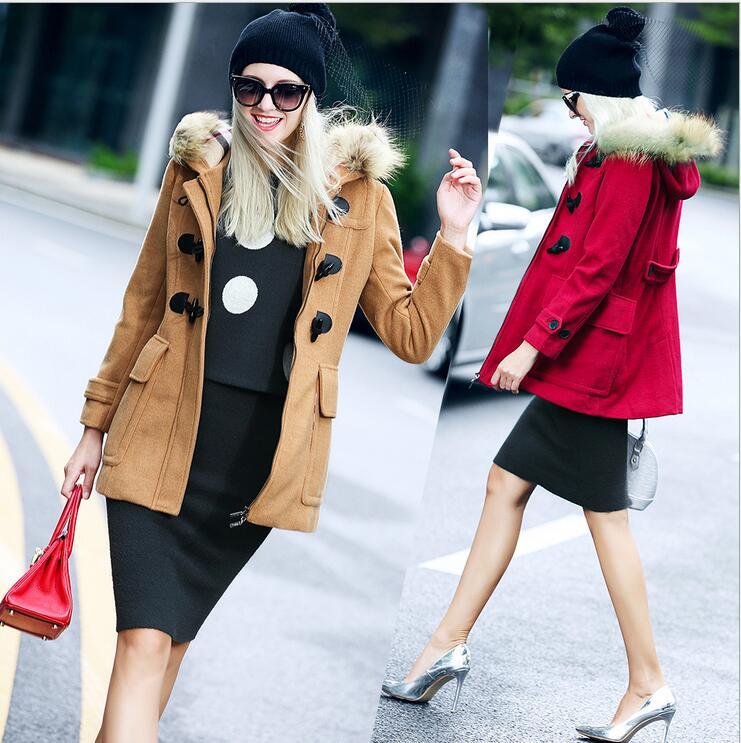High Quality New Winter Womens Jacket Horn Button Zipper Fur Hooded Wool Coat Red Black Khaki Wool Loose Coat Female E31 Брюки