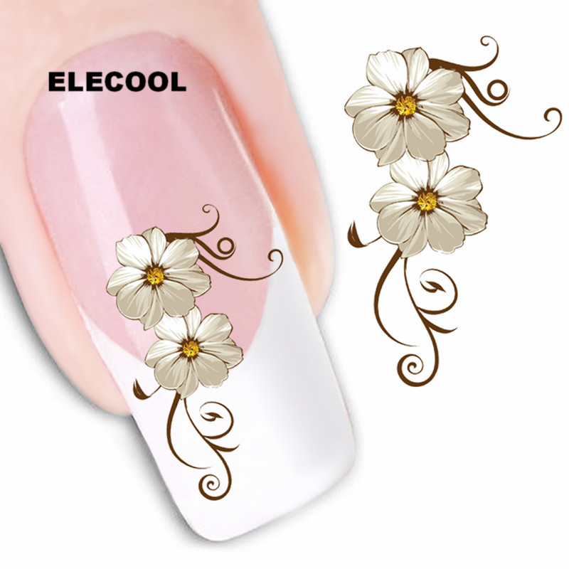 ELECOOL Multi Flower Pattern Nail Art Decals Tips Stickers Water Transfer Blossom Stamp DIY Nail Decoration