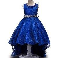 Europa América Niños Trailing Vestidos de Princesa Ropa de Las Muchachas Muchacha de Los Cabritos Del Vestido de Noche 3 a 15Y Escénicas Decoración De Cristal