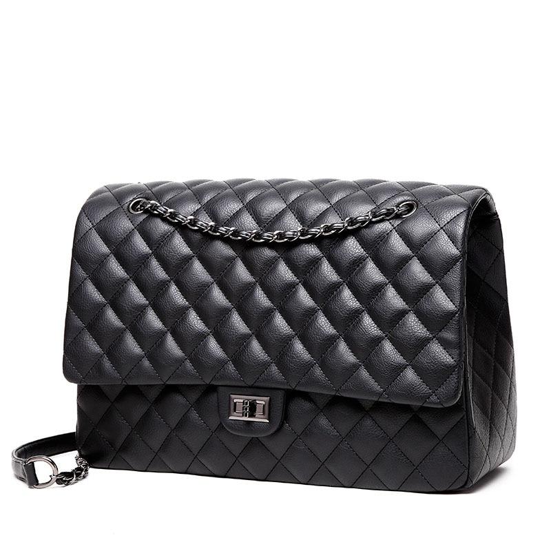 цена на big women messenger bags brand leather shoulder bag maxi jumbo flap bags black quality chains handbag Bolsa Sac rhombic lattice