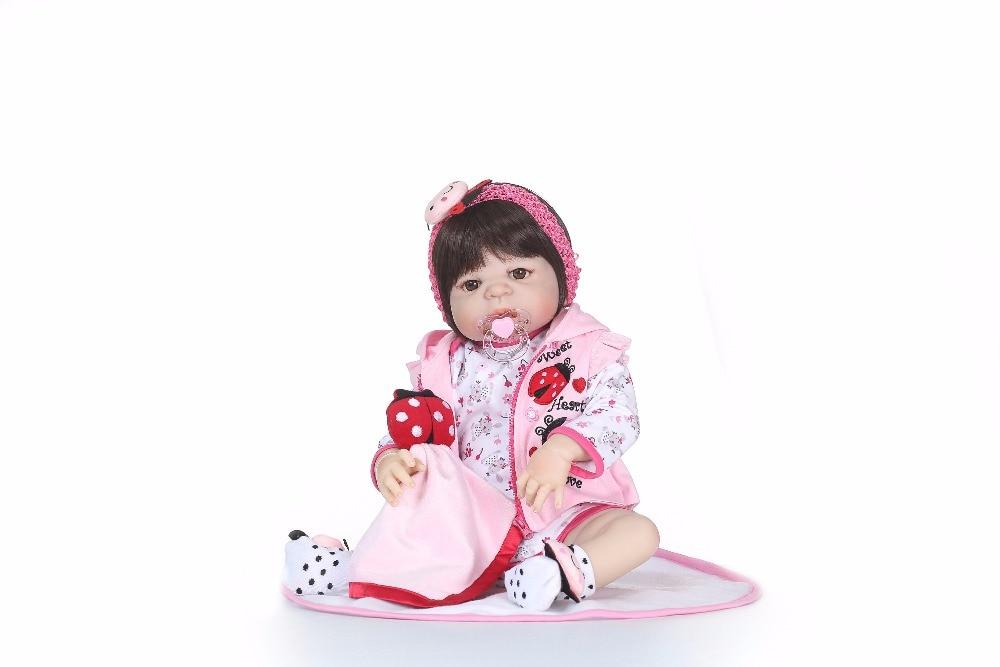 NPK bebé recién nacido muñeca reborn 56 CM pulgadas Reborn Baby girl vida Real muñeca juguetes de silicona suave ojos abiertos resistente al agua de juguete de baño-in Muñecas from Juguetes y pasatiempos    2