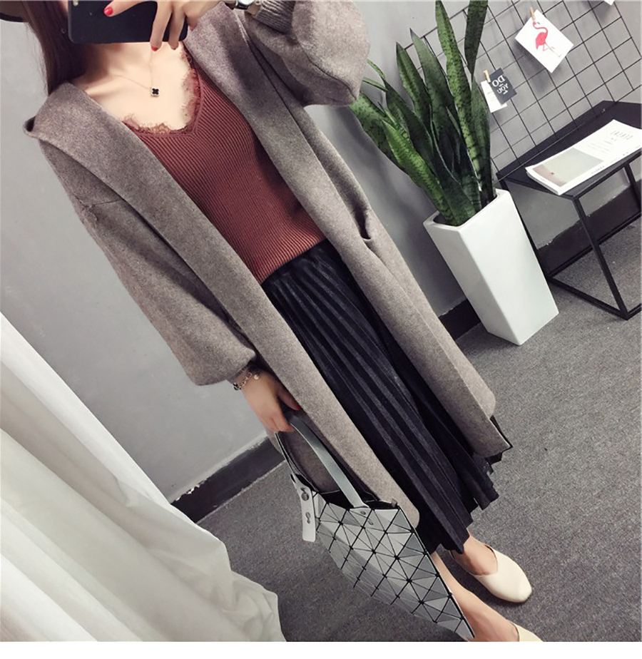 Autumn Winter Women Long Cardigans Hooded Sweaters Casual Knitted Outwear Puff Sleeves for Fashion Girls Female Warm Clothing (2)