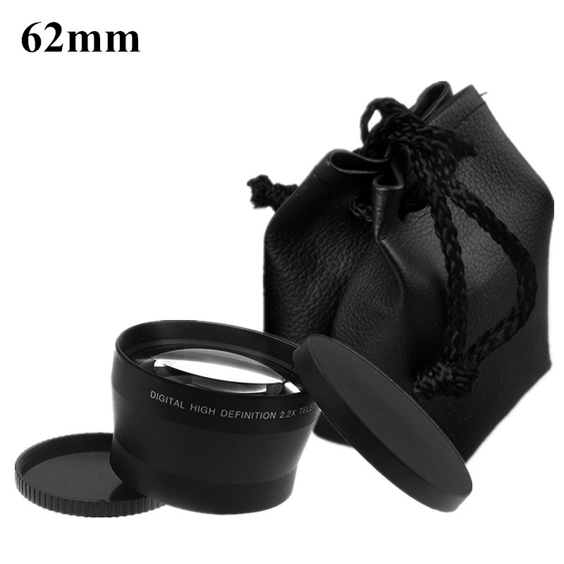 Obiettivo della fotocamera 62mm Teleobiettivo 2.2X LC-62 2.2 X Ottico Tele Sacchetto di lenti Cap 82mm per Canon Per Nikon Sony Lens accessori