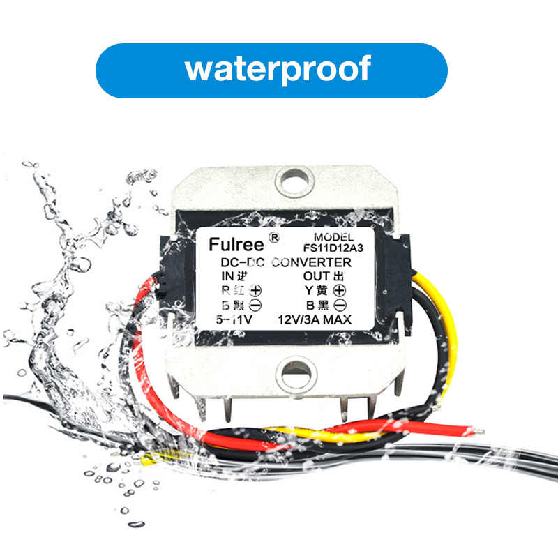محول إمداد طاقة مضاد للماء تيار مستمر/تيار مستمر تنحى 24 فولت/36 فولت/48 فولت إلى 12 فولت 2A محول وحدة التحكم في العاكس للسيارة محول الطاقة العاكس