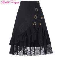 Womens Pencil 50s Style Asymmetrical Skirt Vintage Women Steampunk Gothic Clothing Gypsy Hippie High Stretchy Bodycon