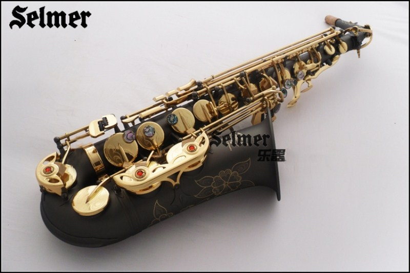 Top Selmer 54 E flat alto saxophone musical instruments playing professionally matte black nickel gold saxophone Free alto saxophone selmer 54 brass silver gold key e flat musical instruments saxophone with cleaning brush cloth gloves cork strap