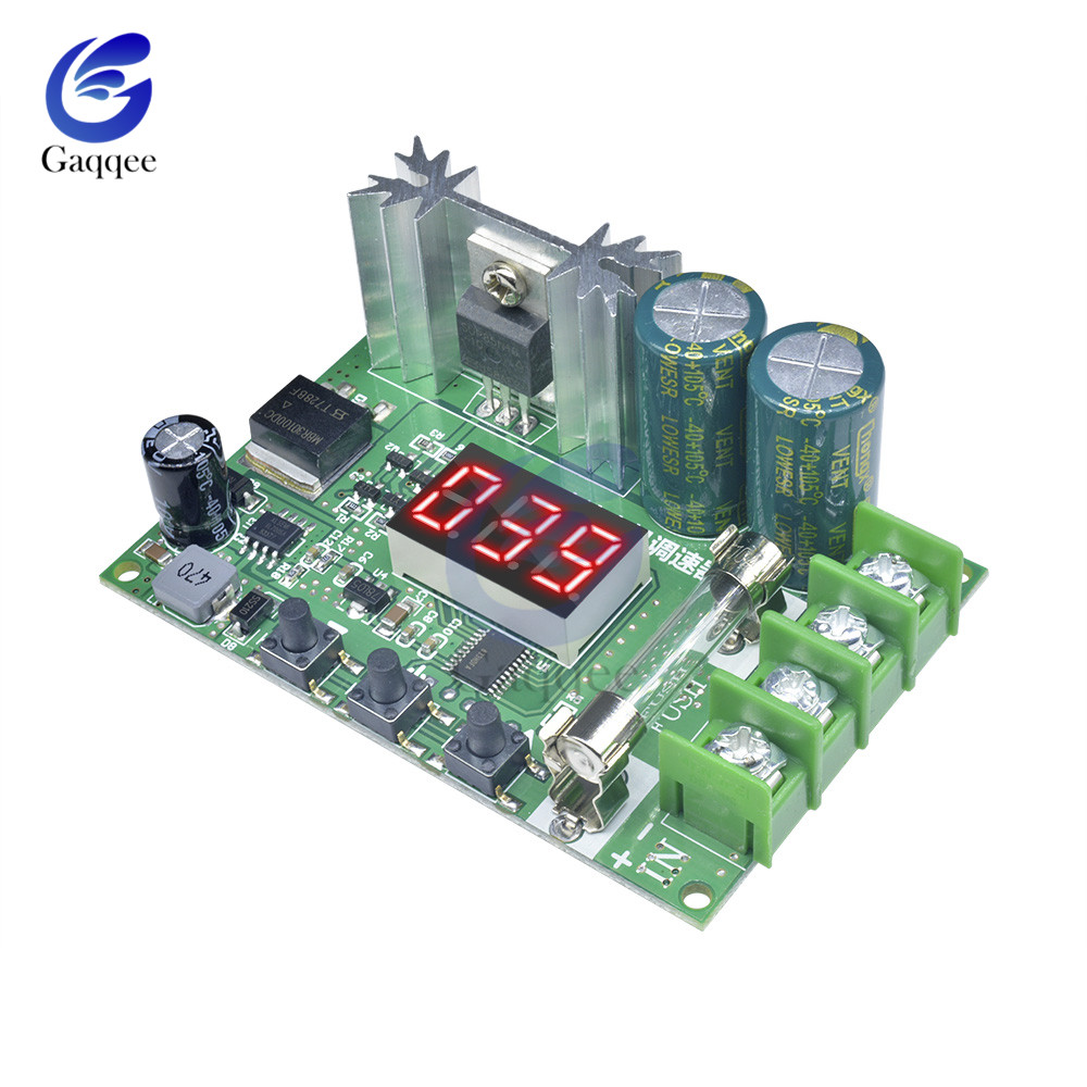 10A 12V-60V 600W DC Motor Speed Controller PWM Regulation Pulse width Board LED Digital button Switch Control Module 24V 48V image