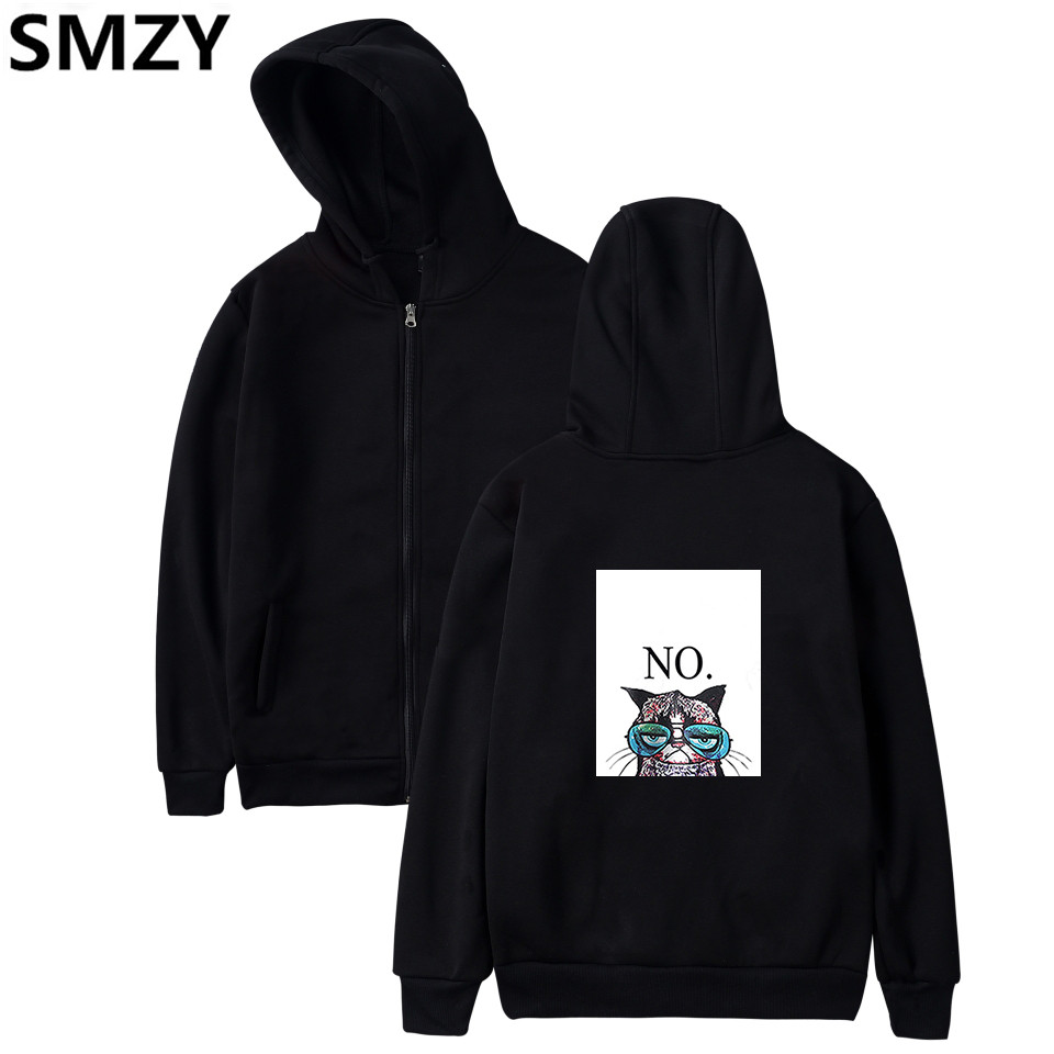 SMZY Cartoon Cat Zipper Hoodies Sweatshirt Tops Pullovers Women Fashion Anime Cat Women Hoodies Sweatshirts Animal Cat Clother