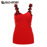 GLO STORY Summer Embroidery Tank Tops 2017 New Arrivals Women Fashion Ladies Sleeveless T Shirts Sexy