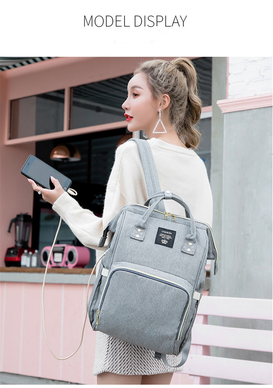 HTB11y3fa5 1gK0jSZFqq6ApaXXa6 LEQUEEN USB Diaper Bag Baby Care Backpack for Mom Mummy Maternity Wet Bag Waterproof Baby Pregnant Bag
