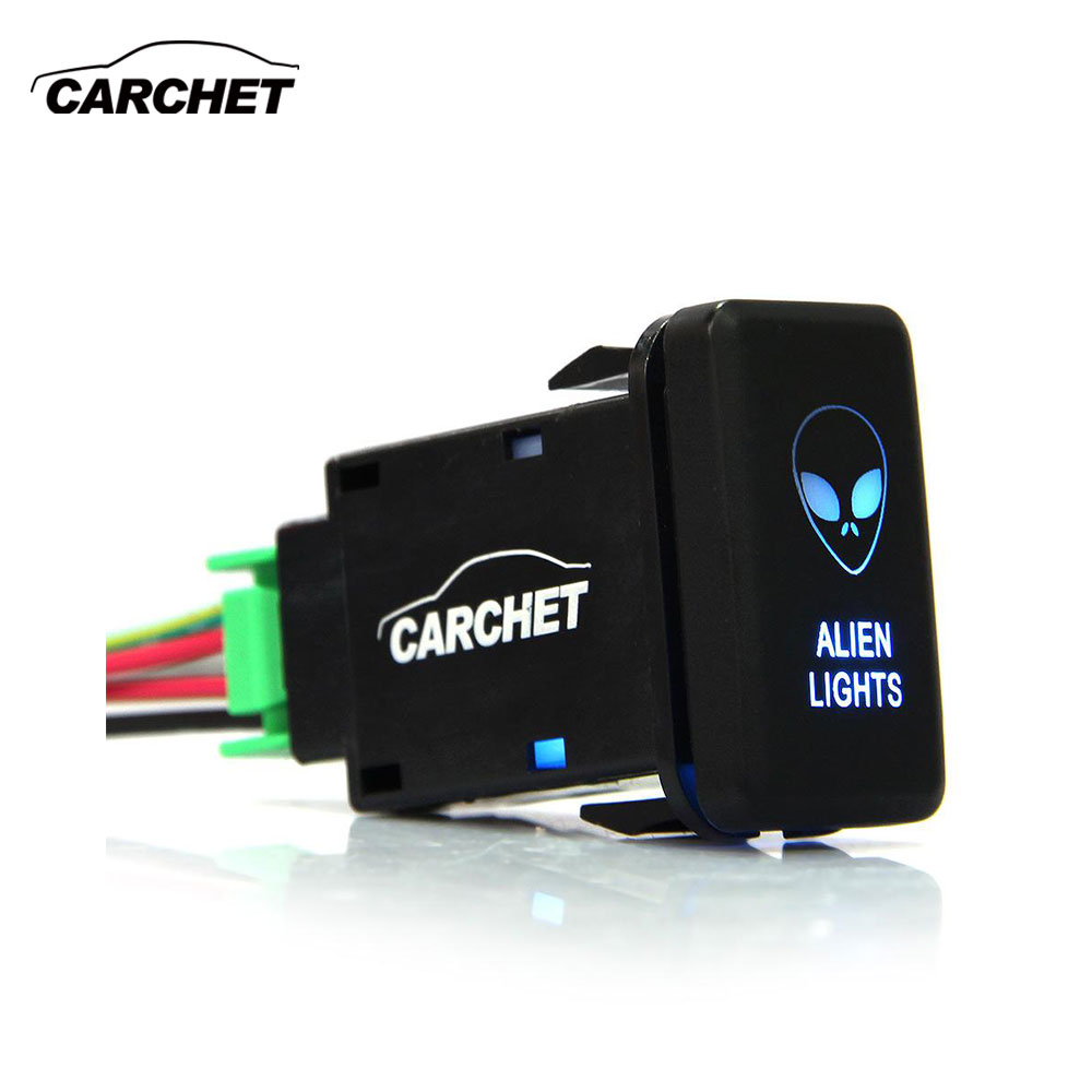 CARCHET Universal Blue Light Auto Car Switches SPST On-Off Switch 12-24V Push Button Switch Car Styling For Alien Free Shipping [vk] 1241 3257 switch push spst no 100ma 42v switch
