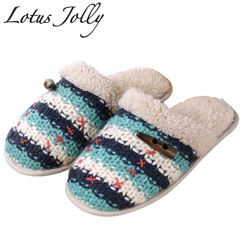 Women Shoes Winter Fur Home Slippers Knitting Wool Comfort Plush Warm House Slippers Indoor Outdoor Couple Zapatillas Mujer