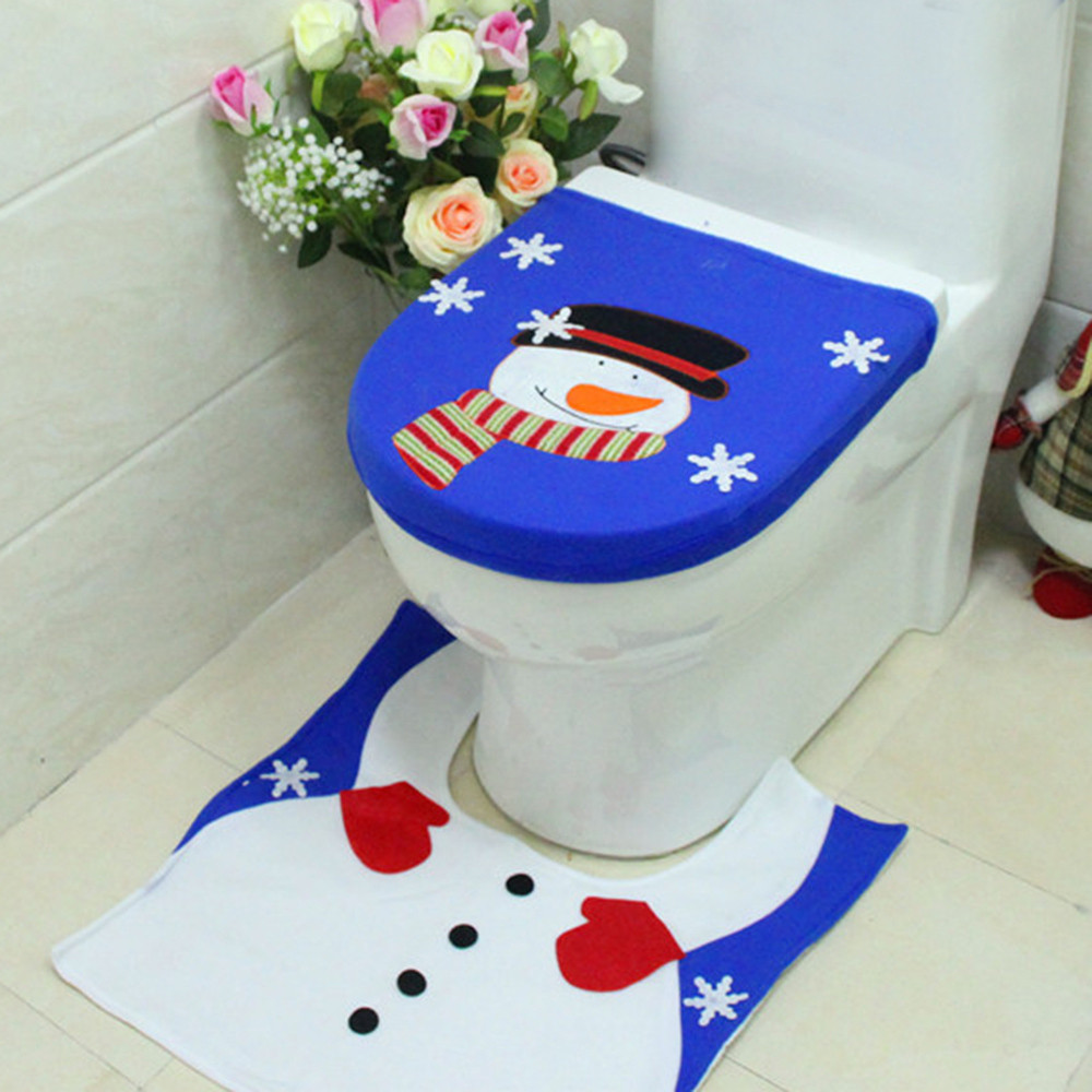2pcs set fancy snowman toilet seat cover rug home bathroom decorations set christmas decor enfeites para arvore de natal in toilet seat covers from home