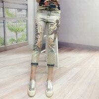 Fashion Women Fashion Cartoon Printed Bronzing Jeans Female Fashion Hole Denim Harem Pants Woman Skinny Ripped