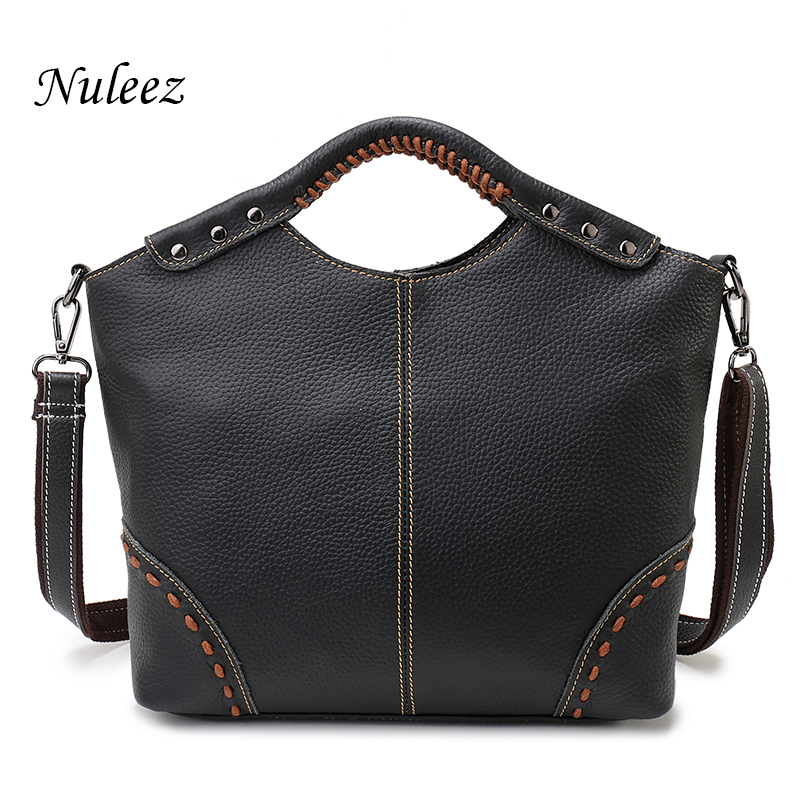 Nuleez Vintage Ladies Handbag Genuine Leather Bag Handmade Classic Women handbag Black Shoulder Bag Tote Bag With Strap New 1222 vintage women s tote bag with strap and plaid design