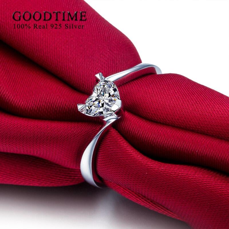 Romantisks sirds cirkonija kāzu gredzens Soild 925 sudraba - Skaistas rotaslietas - Foto 4