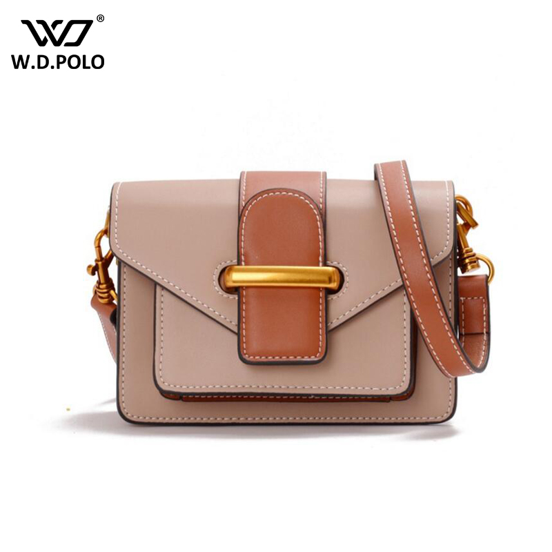 WDPOLO new inset cover real leather handbags women patchwork messenger bags famous brand design small flap lady handbags C374