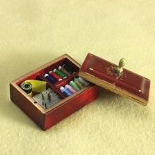 G06-X714 children baby gift Toy 1:12 Dollhouse mini Furniture Miniature rement Sewing kit box 1pcs