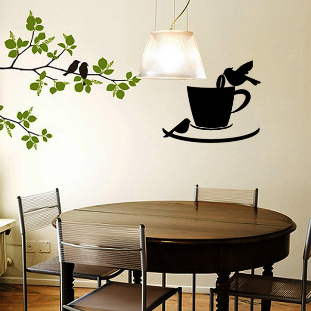 Stickers Coffee Cup Birds Cafe Kitchen Vinyl Wall Sticker Decal Mural Wall  Art Coffee Shop Wallpaper