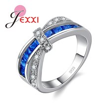 JEXXI Exquisite 925 Sterling Silver Women Sparkling White Blue Cubic Zirconia CZ Wedding Anniversary Ring Crystal Party Jewelry(China)