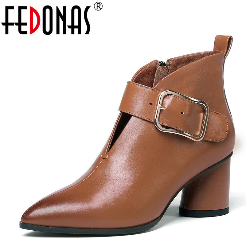 FEDONAS 1Fashion Women Ankle Boots Genuine Leather Autumn Winter Warm High Heels Shoes Woman Pointed Toe Buckle Martin Boots fedonas 1fashion women ankle boots autumn winter warm high heels shoes woman round toe cross tied genuine leather martin boots
