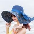 2016 Nueva Llegada Del Verano de la Playa Protector Solar Sombrero Femenino Del Sol Del Verano A Lo Largo del Gran Arco Plegable de Paja Playa Sombreros de Verano Para mujeres