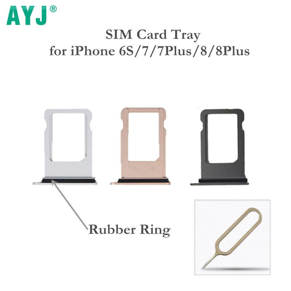AYJ 10 pçs/lote Suporte da Bandeja Do Cartão SIM para o iphone 6 S 7 8 Plus X Adaptador de Cartão para 6 SPlus 7 Plus 8 Plus com Anel De Borracha Livre Pin Presente