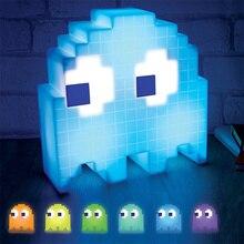 Halloween Luminarias de dibujos animados de cambio de Color dj Led Mini USB luz de noche de 8 bits Luz de humor píxel pacman niño bebé suave lámpara dormitorio iluminación lampara led infantil lampara estrella