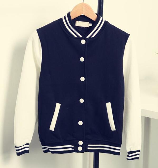 fe8d7e8eeb8c4 stars style baseball uniform long sleeve thicken Fleece jacket high quality  hoody jaqueta s xxl-in Basic Jackets from Women's Clothing & Accessories