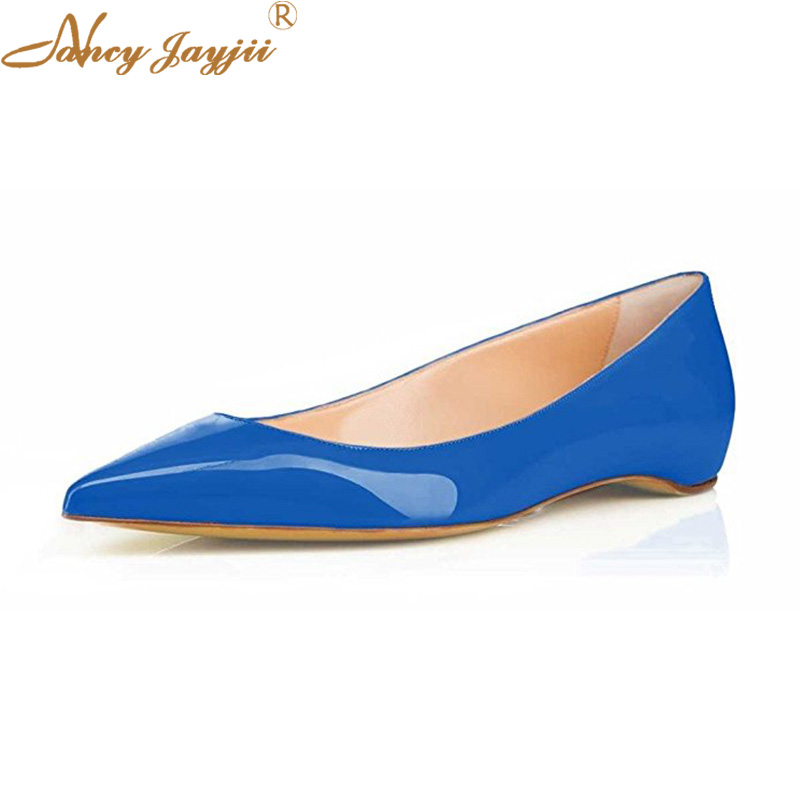 Ballet Flats Sexy Blue Green Leather Womens Bride Shoes Pointed Toe Slip On Autumn Office&Evening Shoes Women Zapatos De Novia 2017 new fashion women summer flats pointed toe pink ladies slip on sandals ballet flats retro shoes leather high quality