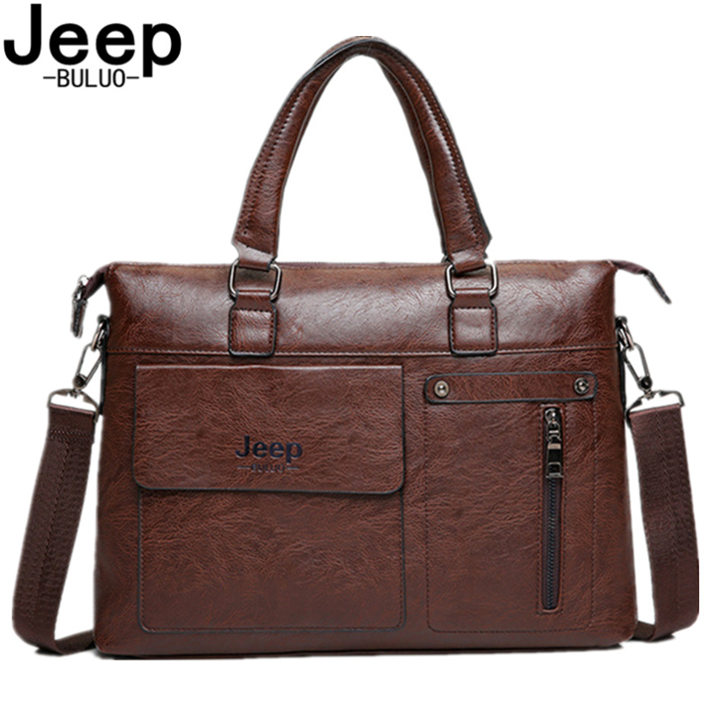 JEEP BULUO Brand Famous Designer  Men Business Briefcase PU Leather Shoulder Bags For 13 Inch Laptop Bag Big Travel Handbag 6013