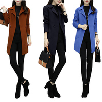 VogorSean Winter Woman Wool Coats Jacket 2018High Quality Slim Fit Fashion Casual Office Wool Blends Womans Wool coat Blue/Brown
