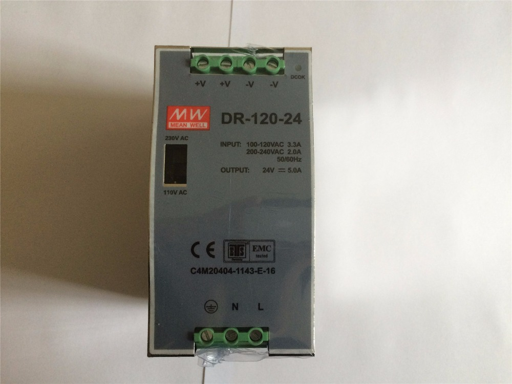 Input 110/220VAC Output 24VDC 5A 120W DR-120-24 DIN Rail Mounted Power Supply цена