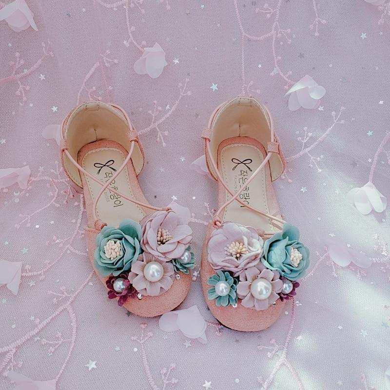 Handmade Flowers Spring 2019 Manual Diamond Flower Princess Shoes Girls Shoes Pearl Sandals