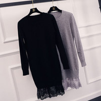 Spring and Autumn Women Pink Sweater with Lace Loose Poncho Black Casual Women's Long Pullovers 1683