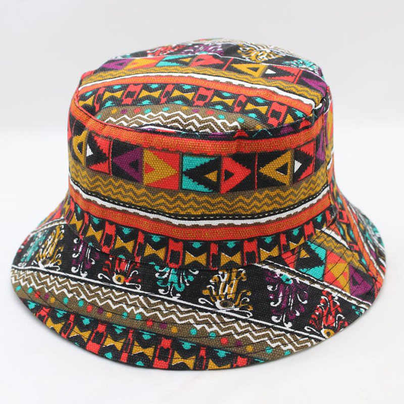 40b37bf60a603 2018 New Fashion Summer Beach Flower Canvas Boonie Fisherman Hats Fisherman  Panama Cap Bob Chapeau Cotton