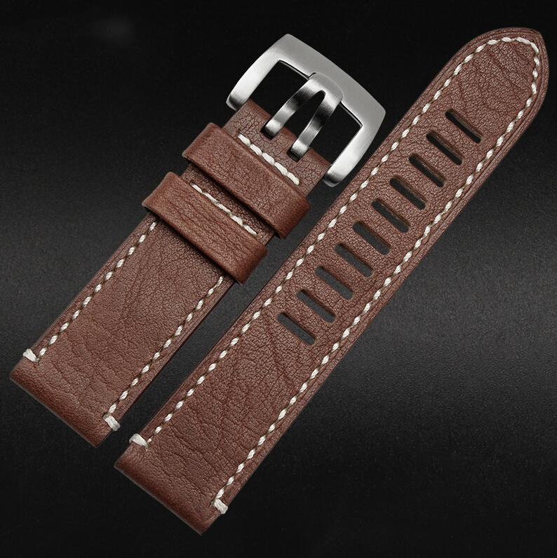 23mm watch band Brown New Men Genuine Leather Watchbands Strap Bracelets Silver Steel Watch Buckle Clasp